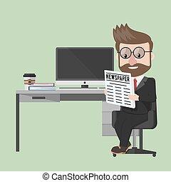 homem negócio, jornal leitura, em, este prego