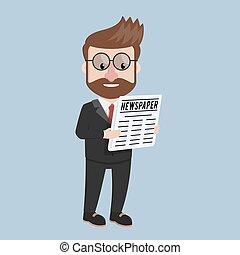homem negócio, jornal leitura
