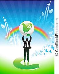 homem negócio, ligado, arco íris, conservação ambiental,...