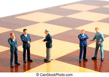 homem negócio, ligado, um, junta xadrez