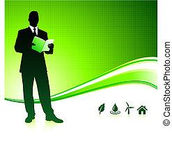 homem negócio, ligado, verde, meio ambiente, fundo