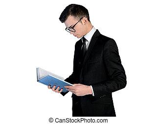 homem negócio, livro leitura