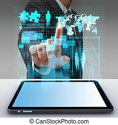 homem negócio, mão, aponte, virtual, negócio, rede, processo, diagrama
