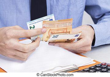 homem negócio, mão, contagem, dinheiro, contabilidade, e, finanças