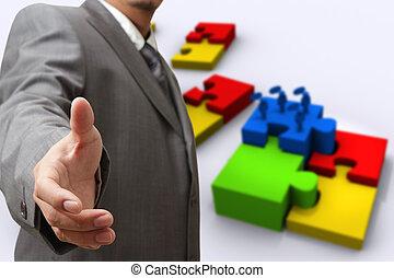 homem negócio, mão, mostra, quebra-cabeças, de, sucesso