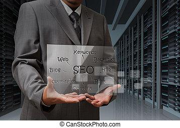 homem negócio, mão, mostra, virtual, tela, de, seo, diagrama