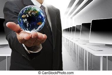 homem negócio, mão, segura, globo
