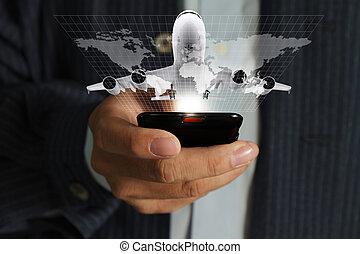 homem negócio, mão, uso, telefone móvel, streaming, viagem,...