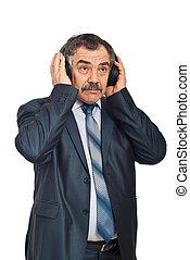 homem, negócio música, escutar, maduras