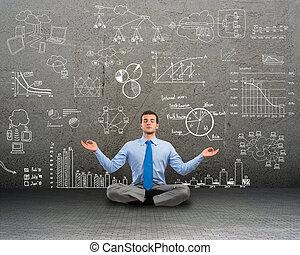 homem negócio, meditar, ligado, chão