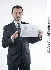 homem negócio, mostra, mapa