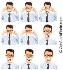 homem negócio, mostrar, diferente, negativo, expressão facial