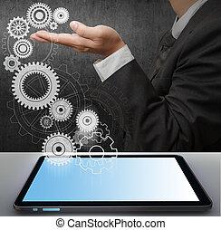 homem negócio, mostrar, engrenagem, para, sucesso, de, tela toque, computador