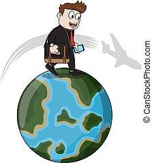 homem negócio, mundo, excursão