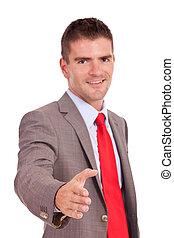 homem negócio, oferecendo, aperto mão