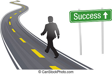 homem negócio, passeio, sinal estrada, para, sucesso