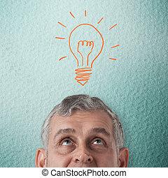 homem negócio, pensando, para, criativo, idéia