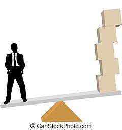 homem negócio, pesa, soluções, para, despacho, caixas,...