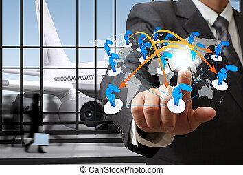 homem negócio, ponto, social, rede, ícone, em, a, aeroporto
