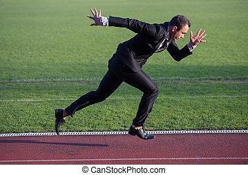homem negócio, pronto, para, sprint