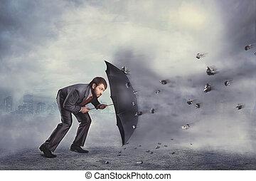 homem negócio, protege, mesmo, de, a, crise