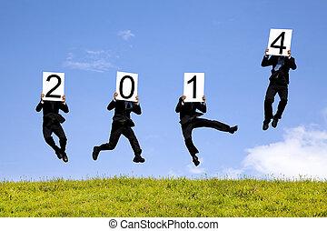 homem negócio, pular, com, 2014, ano, texto, grama