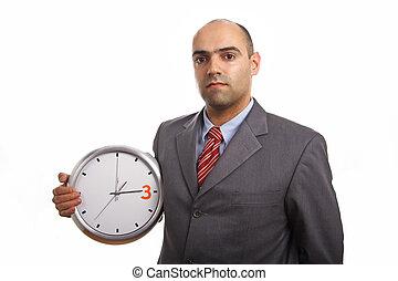 homem, negócio, relógio