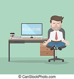 homem, negócio, relaxamento