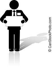 homem negócio, segura, em branco, copyspace, sinal