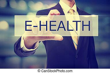 homem negócio, segurando, e-health