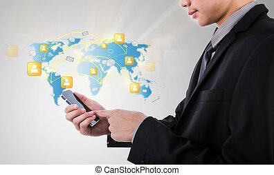 homem negócio, segurando, modernos, comunicação, tecnologia, telefone móvel, mostrar, a, social, rede