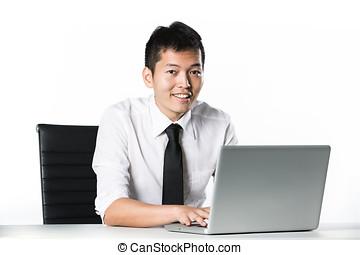 homem negócio, sentando, em, desk.