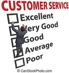 homem negócio, serviço freguês, satisfação, forma