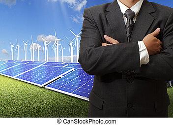 homem negócio, sucesso, com, energia, poupar