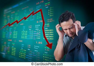 homem negócio, tensão, aproximadamente, queda, mercado...