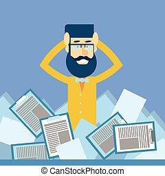 homem negócio, ter, cabeça, documentos, paperwork, problema,...