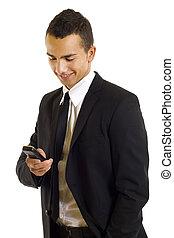 homem negócio, texting