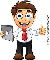 homem negócio, -thumbs, cima, com, tabuleta