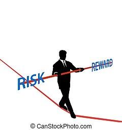 homem negócio, tightrope, equilíbrio, risco, recompensa