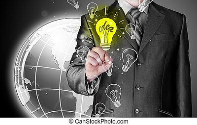 homem negócio, tocar, luz, de, idéia