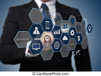 homem negócio, trabalhando, com, modernos, computador, interface, como, tecnologia informação, conceito