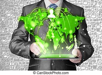 homem negócio, usando, pc tabela, social, conexão