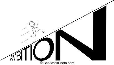 homem negócio, vetorial, hill., caricatura, ilustração, homem negócios, ambição, ou, executando, cima, conceito, carreira