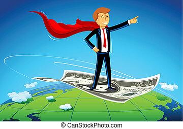 homem negócio, voando, ligado, dólar