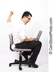 homem negócio, zangado, para, ruído elétrico computador