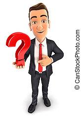 homem negócios, 3d, marca pergunta