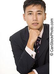 homem negócios, 5, asiático