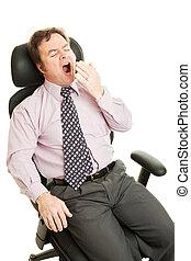 homem negócios, aborrecido, sonolento