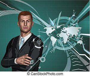 homem negócios, abstratos, mapa mundial, fundo