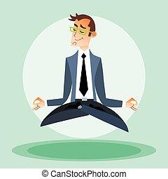 homem negócios, acoplado, ioga